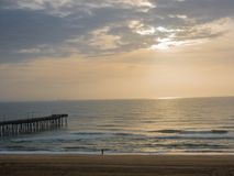 Fishing Pier at Sunrise at Virginia Beach, Virginia, USA.  Royalty Free Stock Photography
