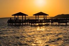 Fishing Pier at Sunset royalty free stock photo