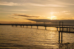 Fishing pier at sunset Royalty Free Stock Photography