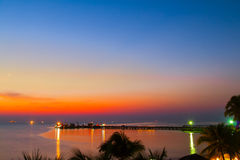 A fishing pier at twilight. In hua hin district,Thailand Royalty Free Stock Photos