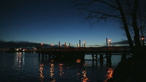 Fishing Pier Twilight, Ship Passing, Fraser River stock footage