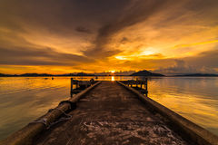 Fishing piers and docks in the evening. Stock Image
