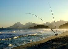 Fishing in Piratininga beach. In the late afternoon, with the Corcovado view from Rio de Janeiro in the background Stock Image