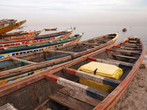 Fishing pirogues. Wooden fishing pirogues on the beach of Hann. Dakar. Senegal Stock Image