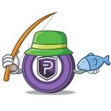 Fishing Pivx coin mascot cartoon. Vector illustration Royalty Free Stock Images