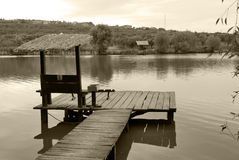 Fishing place. On a shore of a lake Royalty Free Stock Photo