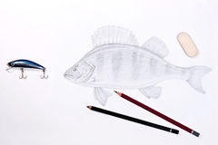 Fishing plastic bait with drawing fish. Graphite pencils and era Stock Photos