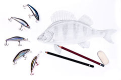 Fishing plastic baits with drawing fish. Graphite pencils and er Stock Image