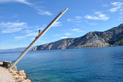 Fishing platform in the Mediterranean coast Royalty Free Stock Photography