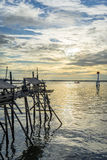 Fishing Platform of Tanjung Harapan. Hidden in the corner of Tanjung Harapan, Port Klang, this fishing platform overlooks the straits of Malacca and the multiple Royalty Free Stock Image