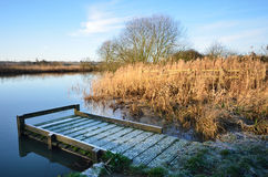 Fishing platform in winter Stock Photo