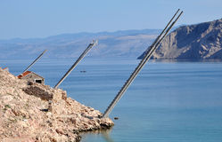 Fishing platforms on the coast, Lukovo, Croatia Royalty Free Stock Image