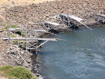 Fishing Platforms. Native American fishing platforms on the Columbia River Stock Photos