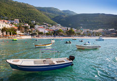 Fishing and pleasure boats in Adriatic sea Stock Photo