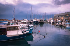 Fishing & Pleasure Boats Docked in Port during Storm - Jaffa, Israel Royalty Free Stock Photo