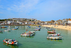 Fishing and pleasure boats in the Harbour at St Ives Stock Images