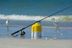 Fishing pole and bait Royalty Free Stock Photo
