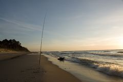Fishing Pole on Beach Royalty Free Stock Photography
