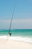 Fishing Pole on Beach Royalty Free Stock Photos