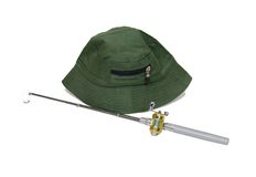 Fishing Pole and hat Royalty Free Stock Photography