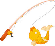 Fishing pole with hook and fish royalty free illustration