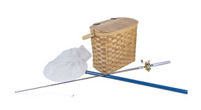 Fishing Pole with Net and Fish Basket Stock Photo