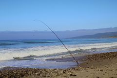 Fishing pole ocean Jalama Beach Stock Images