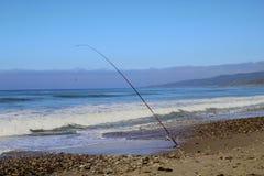 Fishing pole ocean Jalama Beach stock images