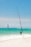 Fishing Pole and Sailboat Stock Images