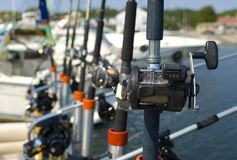 Fishing Poles. Poles set up and ready for salmon fishing Royalty Free Stock Photo