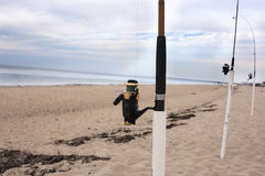 Fishing poles on Cape Cod Royalty Free Stock Image