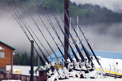 Fishing Poles. Lined up in a row background Royalty Free Stock Photography