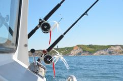 Free Fishing Poles, Reels And Lures On A Charter Fishing Boat. Royalty Free Stock Image - 160686536
