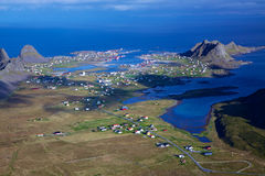 Fishing port. Aerial view of norwegian fishing town of Sorland on island Vaeroy, Lofoten islands Stock Photo