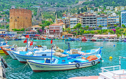 The fishing port in Alanya center Royalty Free Stock Photos