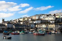 Fishing Port, Brixham Harbor, English Seaside stock images