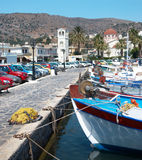 Fishing port in Crete island Stock Photo