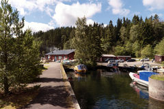 Fishing Port at Lake Vaettern. In Sweden Stock Photo