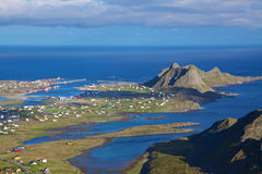 Fishing port on Lofoten. Aerial view of picturesque fishing port on Lofoten islands in Norway Stock Photography
