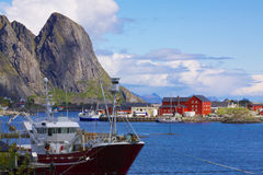 Fishing port in Norway Stock Images