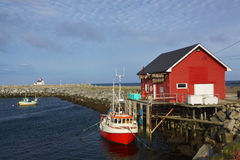 Fishing port in Norway. Scenic fishing port on Vaeroy, Lofoten islands in Norway Royalty Free Stock Photo