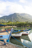 Fishing port. Peruibe, SP, Brazil, May 11, 2009. Boats and fishermen in the fishing port of the mouth of Rio Preto, in Peruíbe stock photo