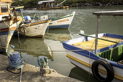 Fishing port. Peruibe, SP, Brazil, May 11, 2009. Boats and fishermen in the fishing port of the mouth of Rio Preto, in Peruíbe stock photos