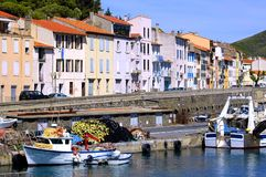 Fishing port of Port Vendres in France Stock Images