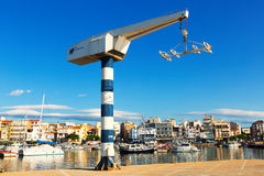 Fishing port at typical mediterranean town. L'Ampolla Royalty Free Stock Photo