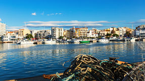 Fishing port at typical mediterranean town Stock Photos