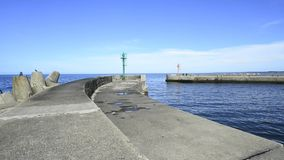 Fishing port of Ustka, Poland. Entrance with signals stock video
