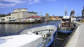 Fishing port of Ustka, Poland stock video