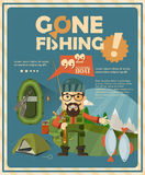 Fishing poster with boat and fishermen in flat design Stock Photos