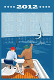 Fishing Poster Calendar 2012 Blue Marlin Fish. Poster calendar 2012 showing Blue Marlin Fish jumping with big game fisherman fishing on boat done in retro style Royalty Free Stock Photos